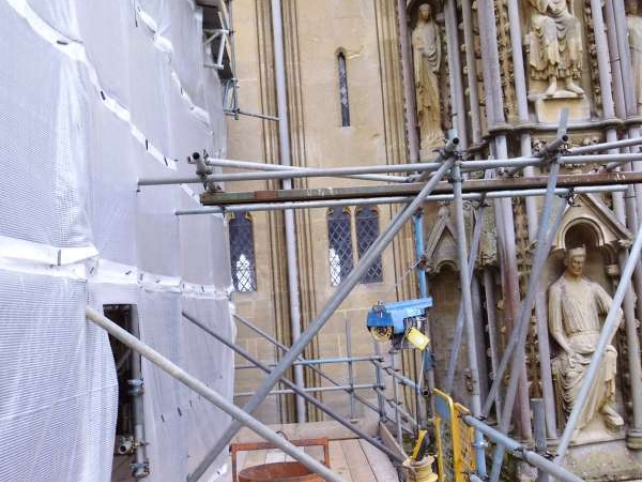 Wells Cathedral under scaffold