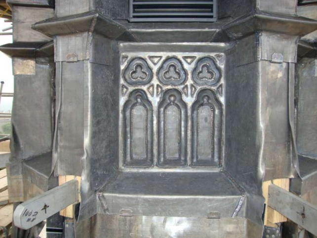 Decorative leadwork at Arudel Cathedral