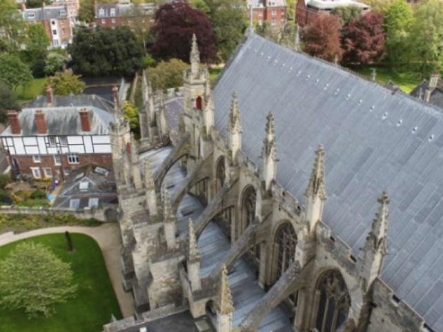 Exeter Cathedral lead roof from above